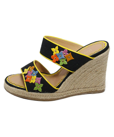 Louis Vuitton Black yellow canvas patent espadrilles 1