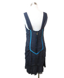 Louis Vuitton Navy Silk Turquoise Velvet Trim Dress 3