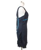 Louis Vuitton Navy Silk Turquoise Velvet Trim Dress 2