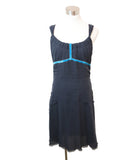 Louis Vuitton Navy Silk Turquoise Velvet Trim Dress 1