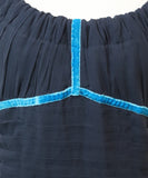 Louis Vuitton Navy Silk Turquoise Velvet Trim Dress 6