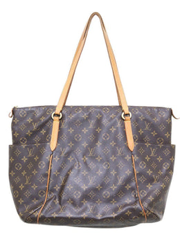 "Louis Vuitton ""Totally MM"" Brown Tan Canvas Leather Trim Tote"