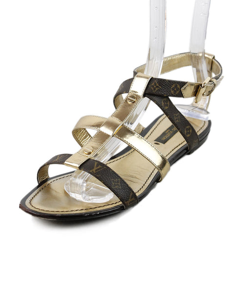 Louis Vuitton Brown Gold Leather Sandals Sz 37