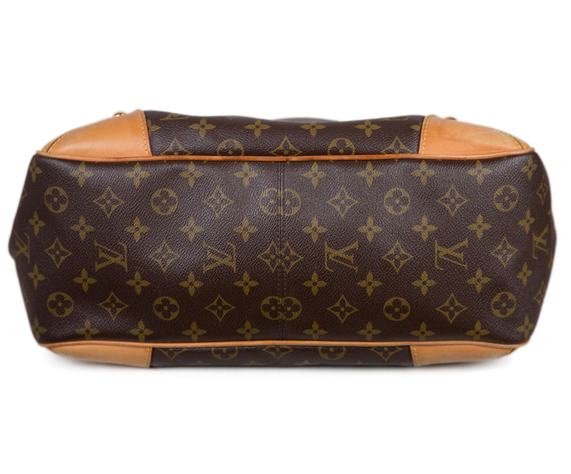 "Louis Vuitton Brown Tan Monogram Leather ""as is"" W/Strap Handbag"