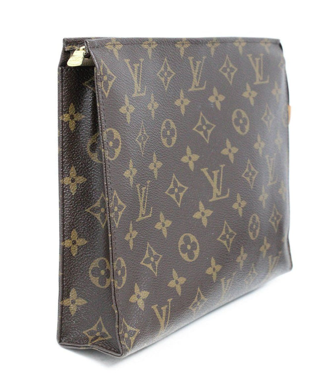 "Louis Vuitton ""Tolietry Pouch 26"" Brown Tan Canvas Cosmetic Case 2"