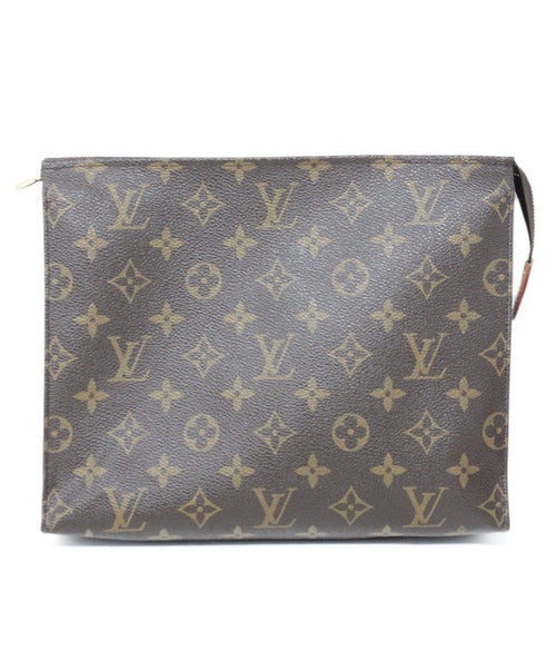 "Louis Vuitton ""Tolietry Pouch 26"" Brown Tan Canvas Cosmetic Case 1"
