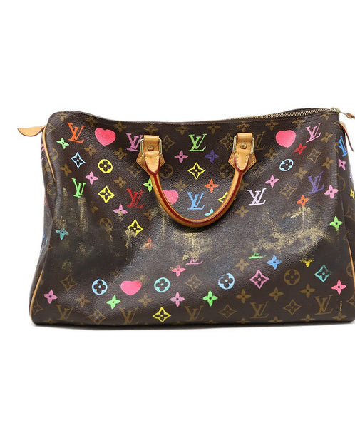 Louis Vuitton Brown Painted Monogram Speedy 40 Rocky Mazzilli London 3