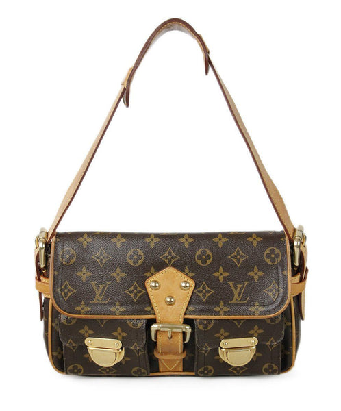 Louis Vuitton Brown Tan Monogram Canvas Leather Trim Handbag