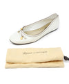 Louis Vuitton White Cream Leather Flats 2