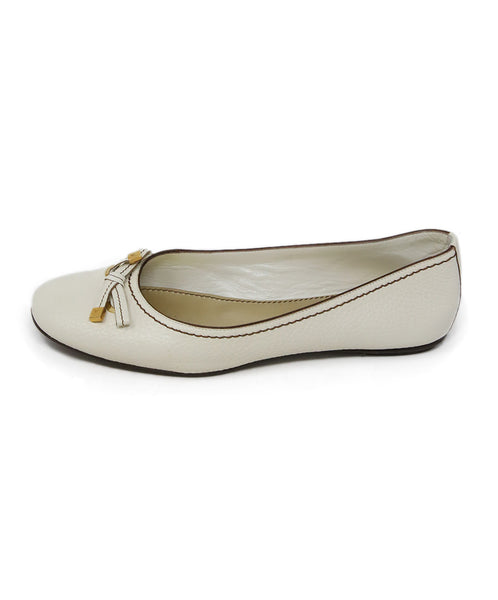 Louis Vuitton White Cream Leather Flats 1