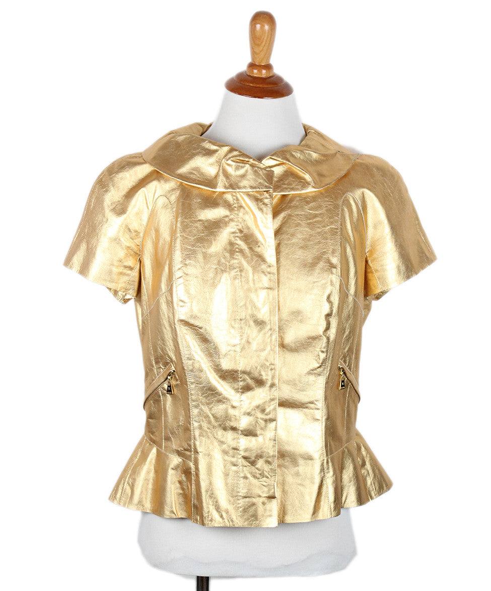 Louis Vuitton Gold Leather  Top Sz 42 - Michael's Consignment NYC  - 1