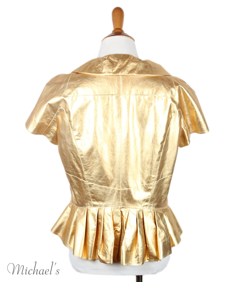 Louis Vuitton Gold Leather  Top Sz 42 - Michael's Consignment NYC  - 3