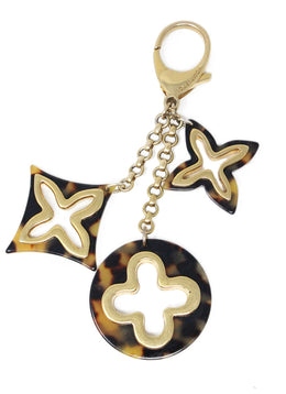 Louis Vuitton Trefoil Shapes Tortoise Shell Color Key Chain 1