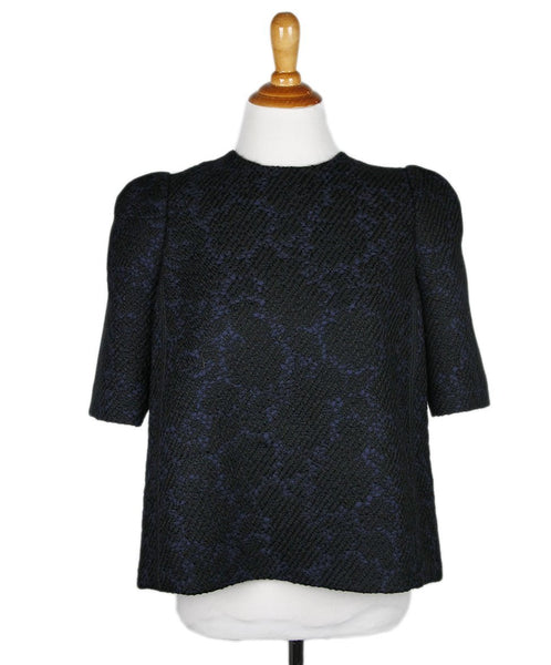 Louis Vuitton Charcoal Navy Black Wool Top Sz 38