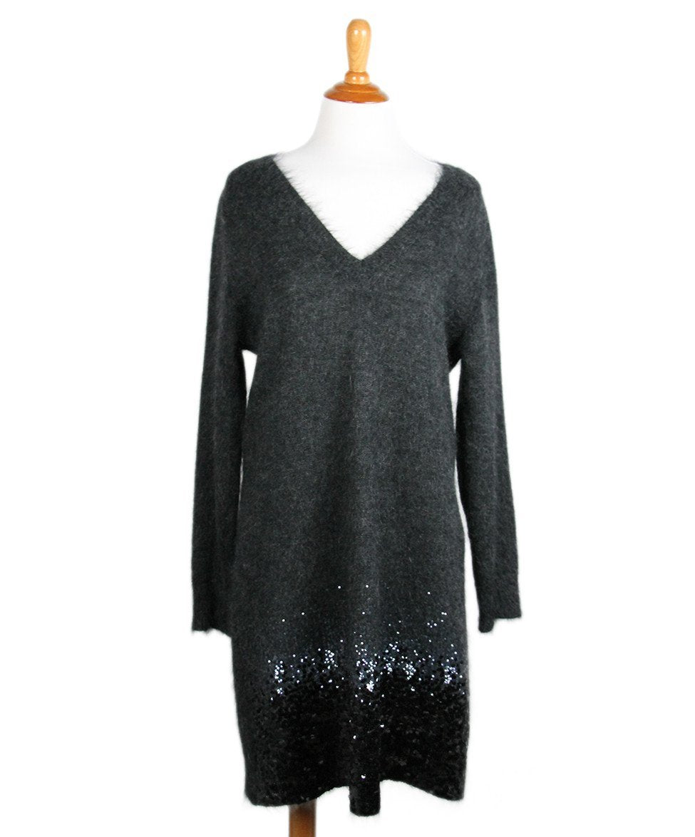 Louis Vuitton Charcoal Mohair Polyamide Sequins Dress Sz XL - Michael's Consignment NYC  - 1