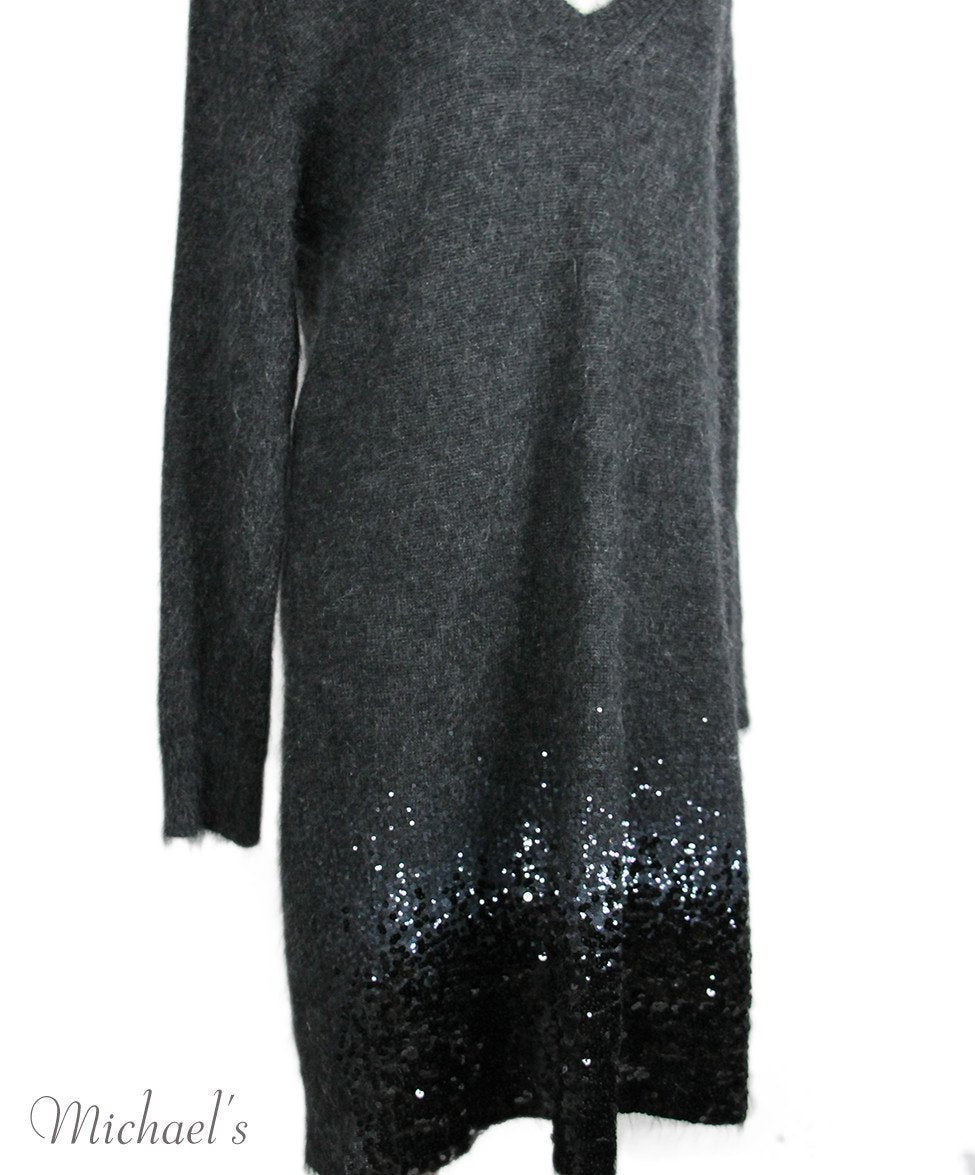 Louis Vuitton Charcoal Mohair Polyamide Sequins Dress Sz XL - Michael's Consignment NYC  - 4