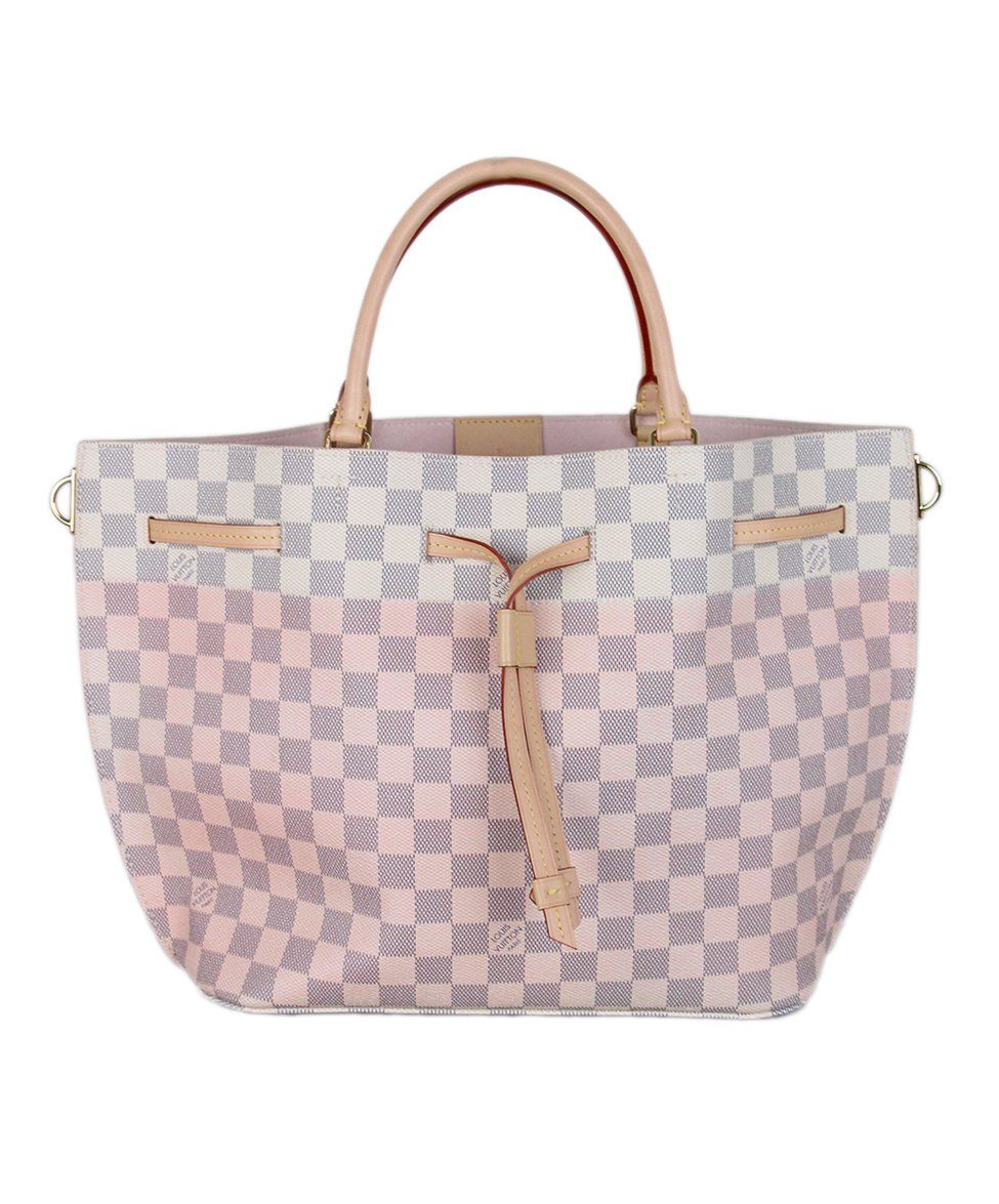 Louis Vuitton Ivory Pink Damier Leather Tote 1