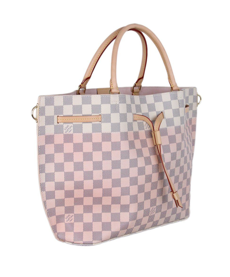 Louis Vuitton Ivory Pink Damier Leather Tote 2