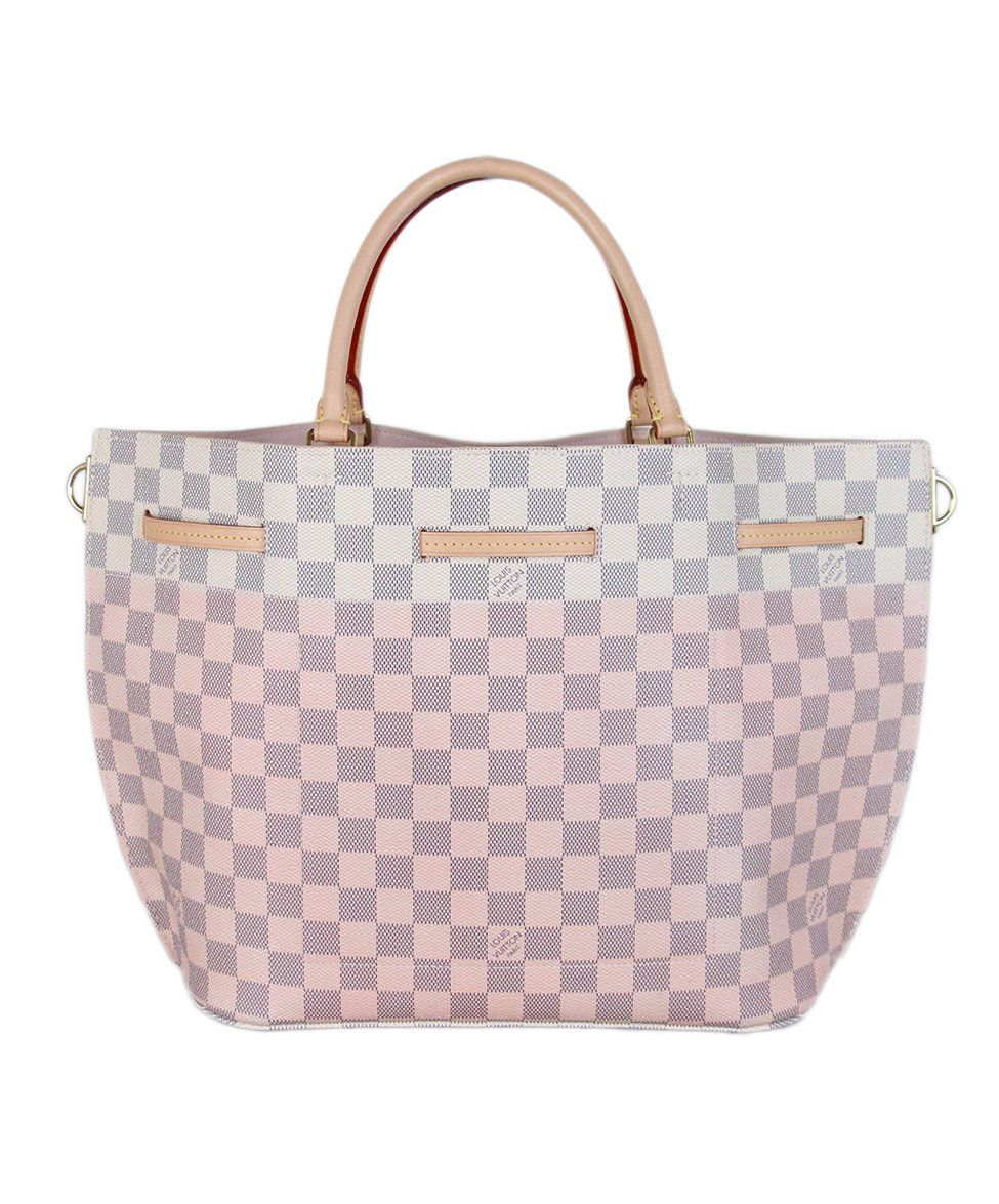 Louis Vuitton Ivory Pink Damier Leather Tote 3
