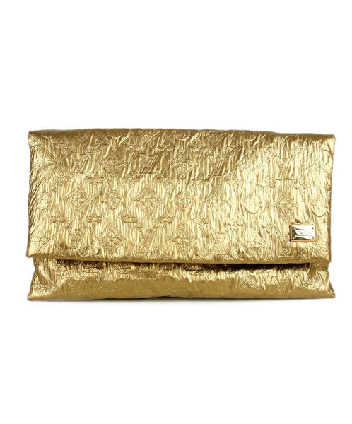 Louis Vuitton Gold Leather Clutch