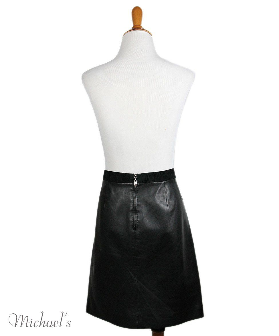 Louis Vuitton  Black Suede Leather Skirt Sz 42 - Michael's Consignment NYC  - 3