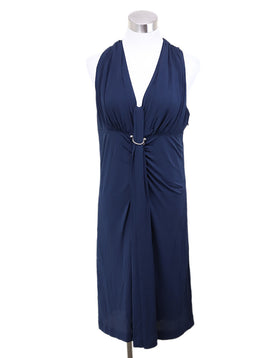 Louis Vuitton Blue Natural Viscose Chain Trim Silver Dress