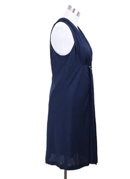 Louis Vuitton Blue Natural Viscose Chain Trim Silver Dress 1