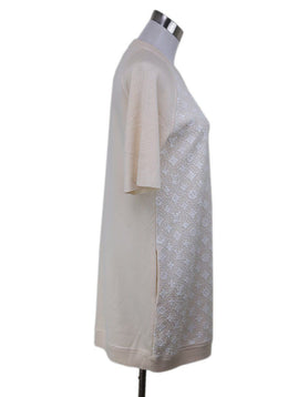 Louis Vuitton Neutral Ivory Wool Silk White Sequins Monogram Dress 1