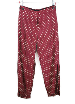 Louis Vuitton Burgundy with Cream Dots Pants 1
