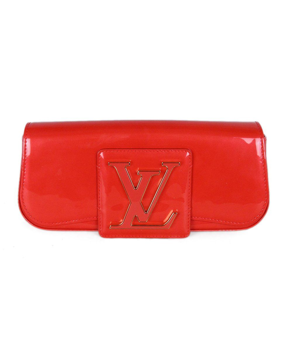 Louis Vuitton Red Orange Patent Leather Clutch 1