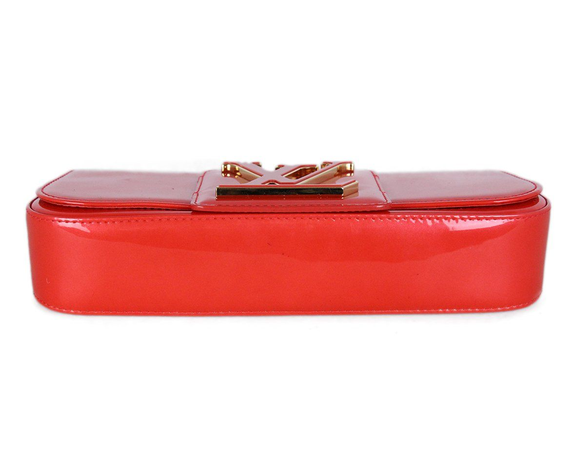 Louis Vuitton Red Orange Patent Leather Clutch 4