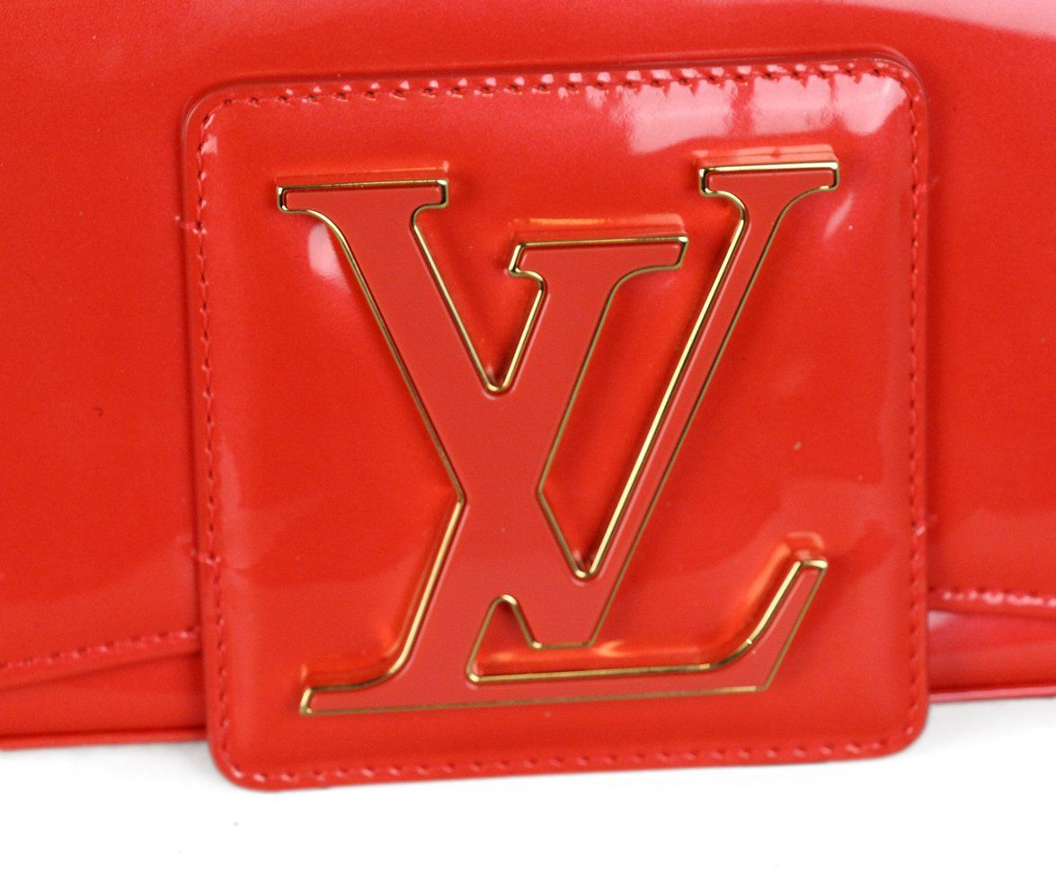 Louis Vuitton Red Orange Patent Leather Clutch 8