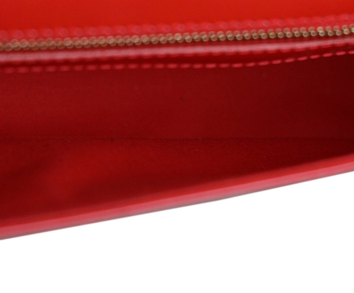 Louis Vuitton Red Orange Patent Leather Clutch 6