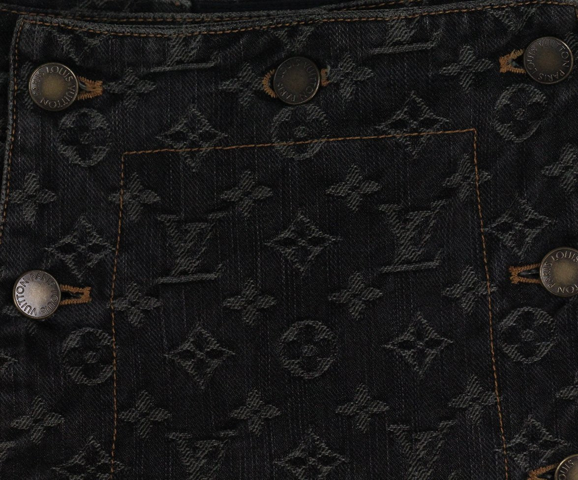 Louis Vuitton black denim monogram skirt 4