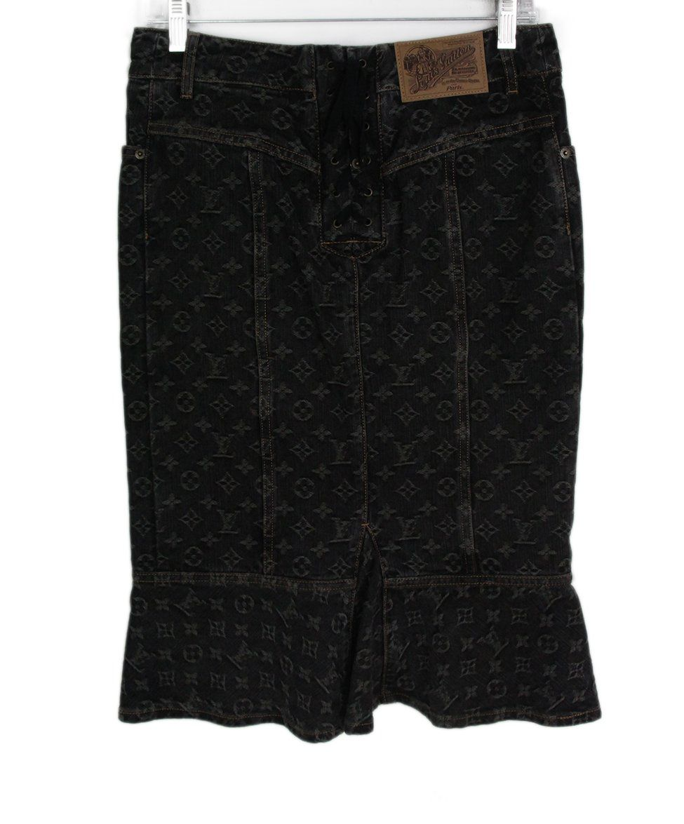 Louis Vuitton black denim monogram skirt 2