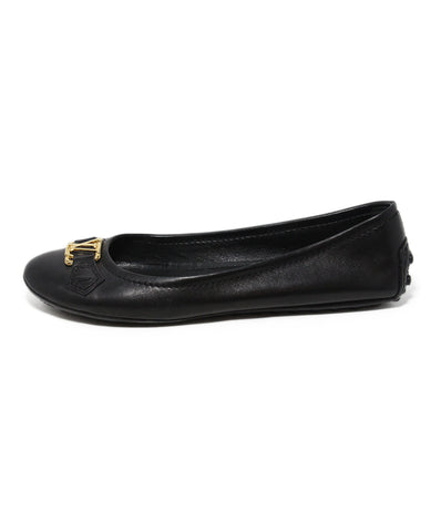 Louis Vuitton black leather flats 1