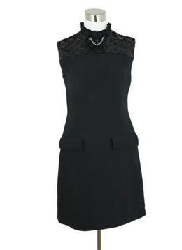 Louis Vuitton Black Wool Sequins Detail Dress 1