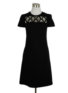 Louis Vuitton Black Wool Silver Studded Dress 1