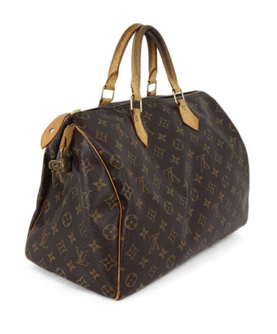 Louis Vuitton brown tan Speedy 35 bag 1