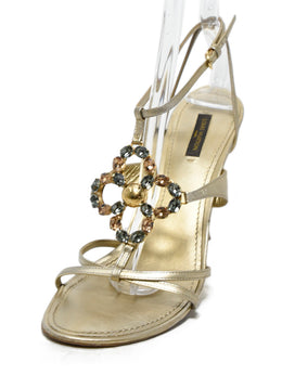 Louis Vuitton Gold Leather Rhinestone Trim Sandals 1