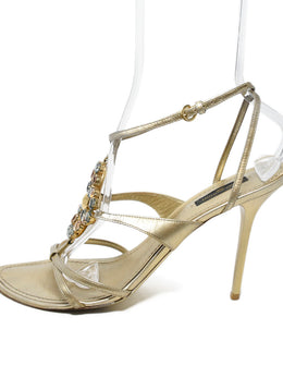 Louis Vuitton Gold Leather Rhinestone Trim Sandals 2