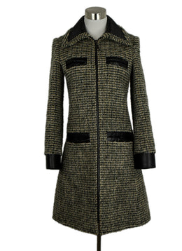 Louis Vuitton Green and Beige Wool Polyamide Coat sz. 4 | Louis Vuitton