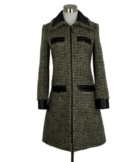 Chanel Black Taupe Wool Zipper Coat Sz 10