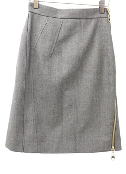 Louis Vuitton Olive Taupe Wool Skirt