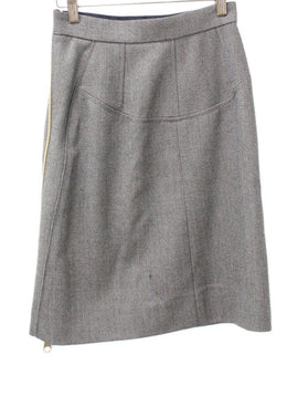 Louis Vuitton Olive Taupe Wool Skirt 1
