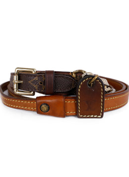 Louis Vuitton Brown Monogram Canvas Leather Collar With Leash 1