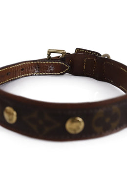 Louis Vuitton Brown Monogram Canvas Leather Collar With Leash 2