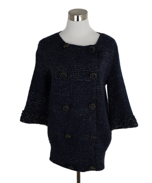 Louis Vuitton Navy Wool Knit Gold Lurex Jacket 1