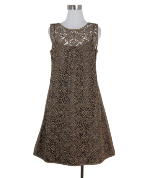 Louis Vuitton neutral tan crochet dress 1