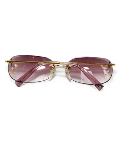Louis Vuitton Metallic Gold Pink Tinted Sunglasses 1